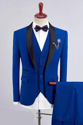Bespoke Three Pieces Men Suits   Royal Blue Men Suit for Wedding_1