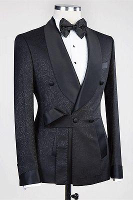 Ernesto Black Double Breasted Shawl Lapel Jacuqard Wedding Suit_2