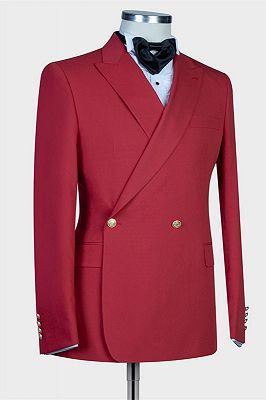 Izaiah Fashion Red Peaked Lapel Slim Fit Prom Suits for Men_3