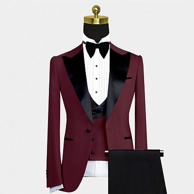 Bryant New Arrival Burgundy Slim Fit Prom Men Suits with Black Lapel_2