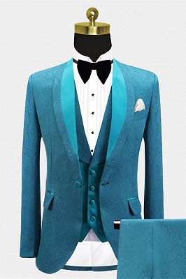Leland Bespoke Shawl Lapel Jacquard Slim Fit Wedding Men Suits_1