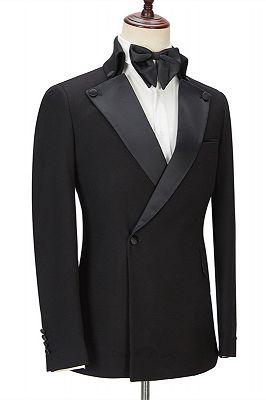 Shaun Black Fashion Slim Fit Peaked Lapel Men Suits for Prom_3