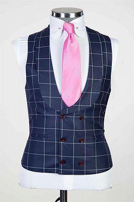 Justice Dark Navy Plaid Peaked Lapel Slim Fit Men Suits for Business_2