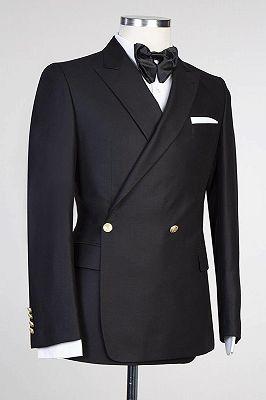 Solomon Stylish Black Peaked Lapel New Arrival Men Suits for Prom_3