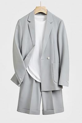 Darren Silver Loose Notched Lapel Summer Men Suit with Short Pant_1