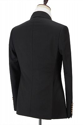 Percy Classic Black Double Breasted Men's Formal Suit with Peak Lapel_2