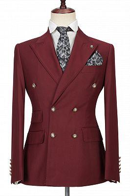 Luman Stylish Double Breasted Burgundy Peak Lapel Men's Formal Suit_1