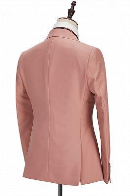 Ivan 3 Piece Coral Pink Two Buttons Peak Lapel Stylish Men's Suit_3