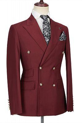 Luman Stylish Double Breasted Burgundy Peak Lapel Men's Formal Suit_3