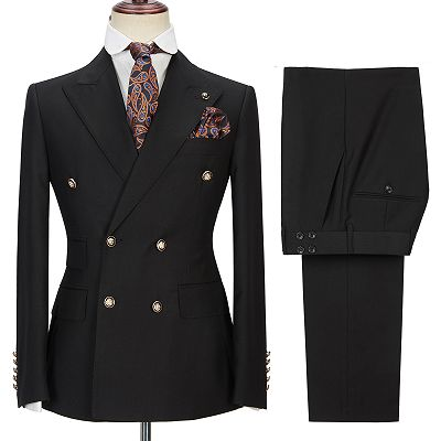 Percy Classic Black Double Breasted Men's Formal Suit with Peak Lapel_4