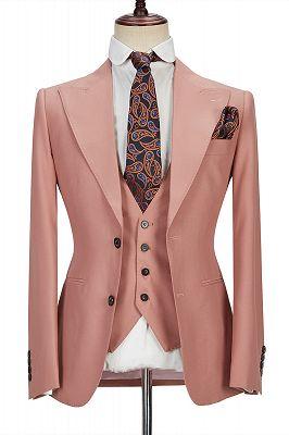 Ivan 3 Piece Coral Pink Two Buttons Peak Lapel Stylish Men's Suit_1