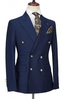 Morris Dark Navy Peak Lapel Double Breasted Formal Men's Suit for Prom_3