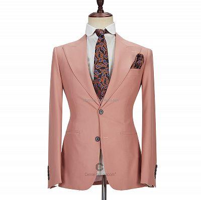 Ivan 3 Piece Coral Pink Two Buttons Peak Lapel Stylish Men's Suit_4