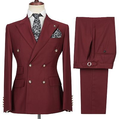 Luman Stylish Double Breasted Burgundy Peak Lapel Men's Formal Suit_4
