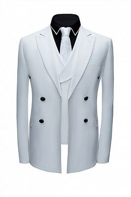 Jonathon Stylish White Notched Lapel Double Breasted Formal Men suits_1