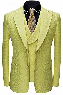 Jasper Yellow Three Pieces Peaked Lapel Fashion Prom Suits for Men_1