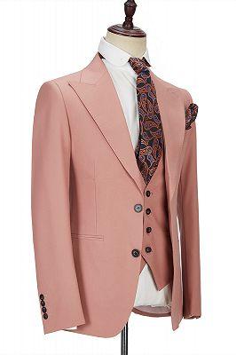 Ivan 3 Piece Coral Pink Two Buttons Peak Lapel Stylish Men's Suit_2