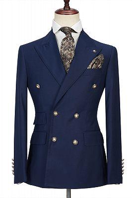 Morris Dark Navy Peak Lapel Double Breasted Formal Men's Suit for Prom_1