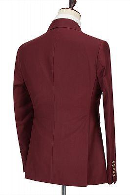 Luman Stylish Double Breasted Burgundy Peak Lapel Men's Formal Suit_2