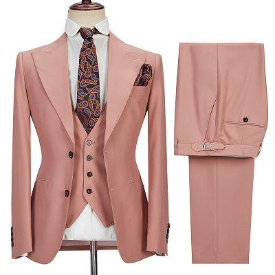 Ivan 3 Piece Coral Pink Two Buttons Peak Lapel Stylish Men's Suit_5