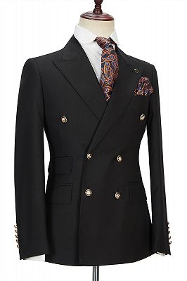 Percy Classic Black Double Breasted Men's Formal Suit with Peak Lapel_3