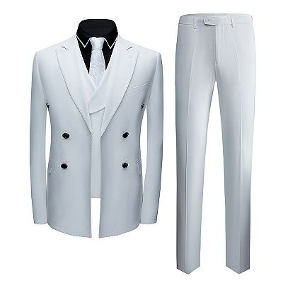 Jonathon Stylish White Notched Lapel Double Breasted Formal Men suits_3