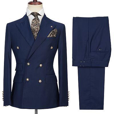 Morris Dark Navy Peak Lapel Double Breasted Formal Men's Suit for Prom_4