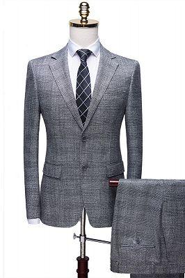 Dorian Simple Gray Notch Lapel Plaid Two Pieces Formal Business Men Suits_1