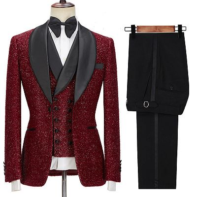 Damon Sparkle Red Three Pieces Wedding Suits with Black Shawl Lapel_3