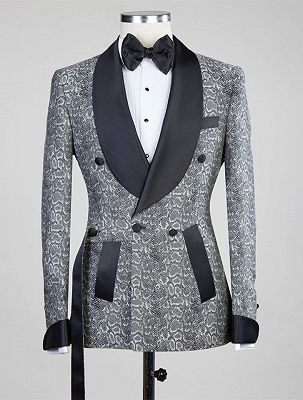 Khalil Gray Double Breasted Jacquard Wedding Men Suits with Black Lapel_1