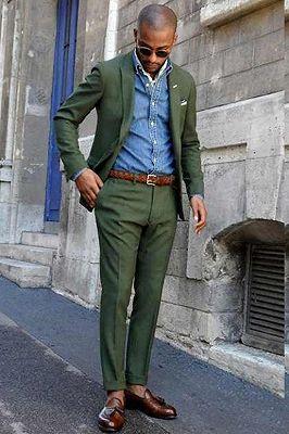 Talon Dark Green Peaked Lapel Slim Fit Bespoke Men Suits_2