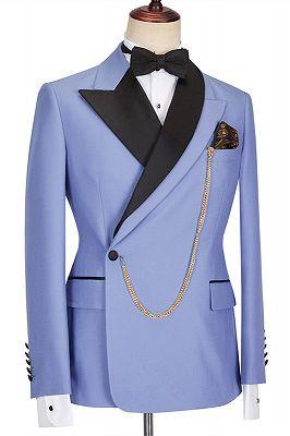 Kale Fashion Blue Peaked Lapel Slim Fit Bespoke Men Suits_3