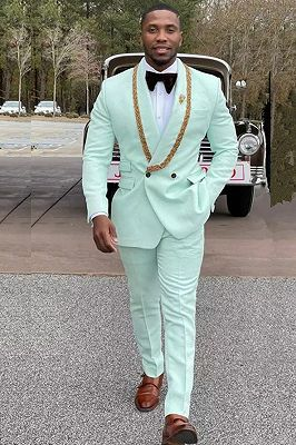 Conor Mint Green Fashion Shawl Lapel Double Breasted Wedding Suits with Appliques