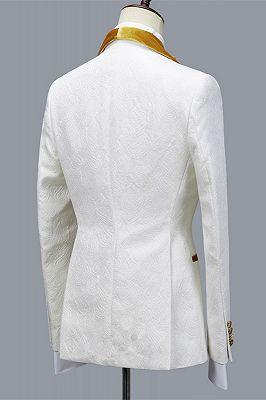 Cyrus Three Pieces Jacquard White Wedding Men's Suit with Velvet Lapel_2