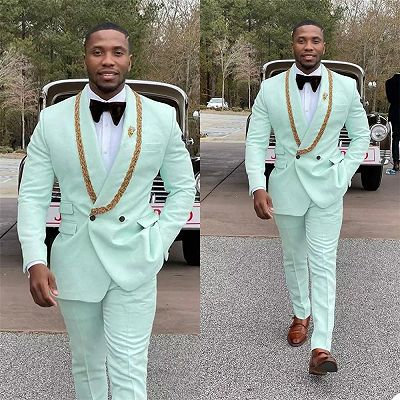 Conor Mint Green Fashion Shawl Lapel Double Breasted Wedding Suits with Appliques_2