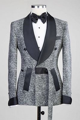 Khalil Gray Double Breasted Jacquard Wedding Men Suits with Black Lapel_5