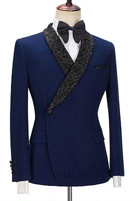 Jermaine Dark Navy Bespoke Slim Fit Men Suits with Black Lapel_3
