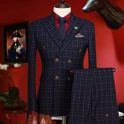 Terry Dark Blue Plaid Peaked Lapel Double Breasted Prom Suits_2