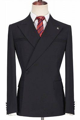 Dayton Fashion Black Peaked Lapel Slim Fit Men Suits for Prom_1