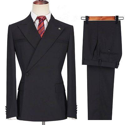 Dayton Fashion Black Peaked Lapel Slim Fit Men Suits for Prom_3