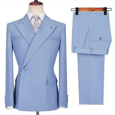 Porter Blue Slim Fit Peaked Lapel Ruffles Fashion Prom Men Suits_3