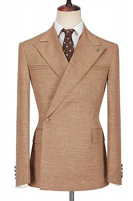 August Stylish Peaked Lapel Ruffles Slim Fit Formal Men Suits_1