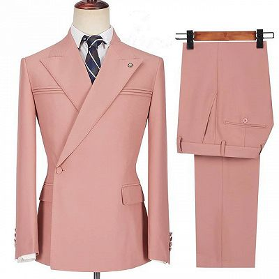 Leonel Pink Peaked Lapel Ruffles Fashion Slim Fit Prom Men Suits_3