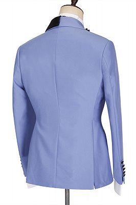 Kale Fashion Blue Peaked Lapel Slim Fit Bespoke Men Suits_2