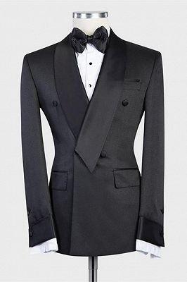 Isaias Stylish Black Double Breasted Shawl Lapel Wedding Men Suit_1
