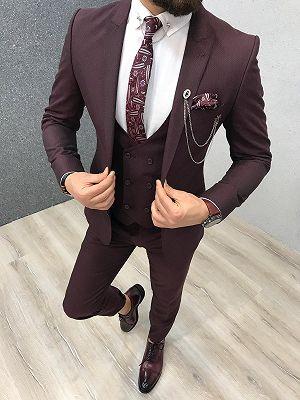 Warren Burgundy Three Pieces Slim Fit Peaked Lapel Men Suits_1