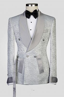Braiden Silver Shawl Lapel Double Breasted Jacquard Wedding Suits_1