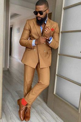 Kolton Bespoke Peaked Lapel Double Breasted Slim Fit Prom Suits_1
