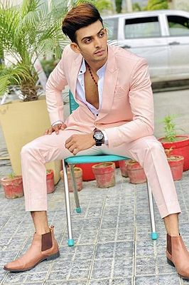 Tommy Pink Peaked Lapel Slim Fit Prom Outfits for Men