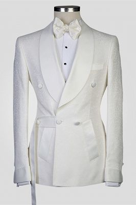Roy White Jacquard Shawl Lapel Double Breasted Men Suits for Wedding_1